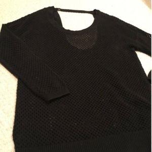 Torrid black sheer mesh style sweater caged back